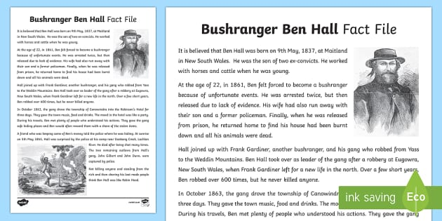 Bushranger Ben Hall Fact File