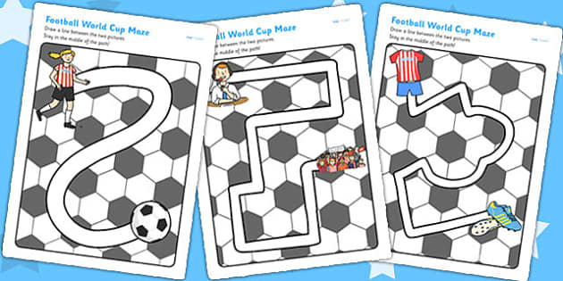 Football World Cup Pencil Control Path Worksheets - football