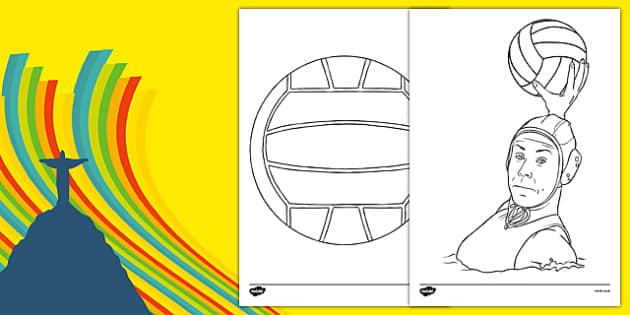 The Olympics Water Polo Colouring Sheets - Water Polo, Olympics, Olympic Games, sports, Olympic, London, 2012, colouring, fine motor skills, poster, worksheet, vines, A4, display, activity, Olympic torch, events, flag, countries, medal, Olympic Rings
