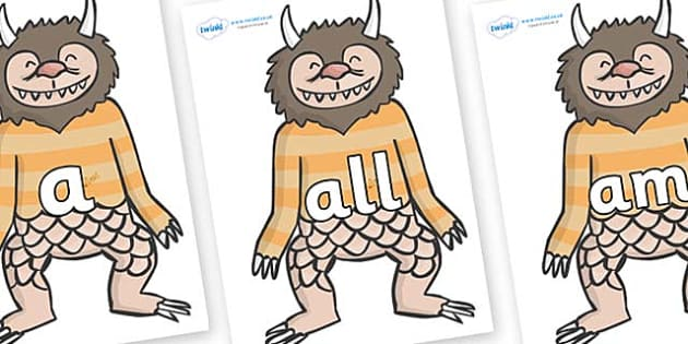 Foundation Stage 2 Keywords on Wild Thing (1) to Support Teaching on Where the Wild Things Are - FS2, CLL, keywords, Communication language and literacy,  Display, Key words, high frequency words, foundation stage literacy, DfES Letters and Sounds, L