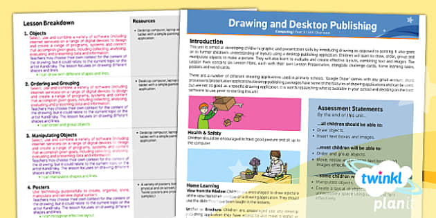 PlanIt Computing Y3 Drawing and Desktop Publishing Planning Overview - design, computers, ICT, IT, technology, design, DTP, art, creative, PlanIt, planning, lessons