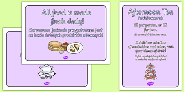 Royal Afternoon Tea Role Play Signs Polish Translation - polish, royal, afternoon tea, role play, signs, display