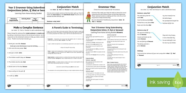 Year 2 Grammar: Using Subordinating Conjunctions (when, if, that and  because) Activity Booklet