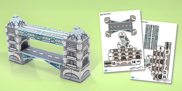 Tower Bridge Paper Model - tower bridge, paper, model, craft