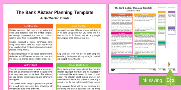 ROI The Bank Aistear Planning Template - Aistear, Infants, English Oral Language, School, The Garda Station, The Hairdressers, The Airport, T