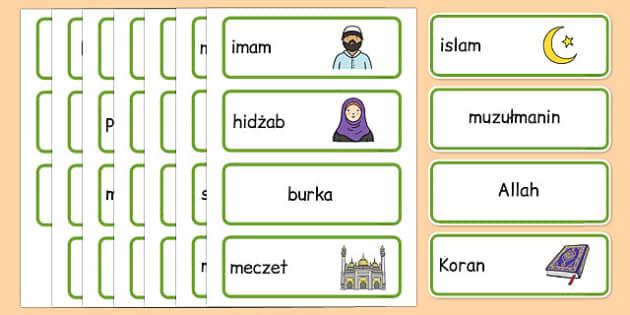 Karty ze słownictwem Islam po polsku - religia, kościół, allah