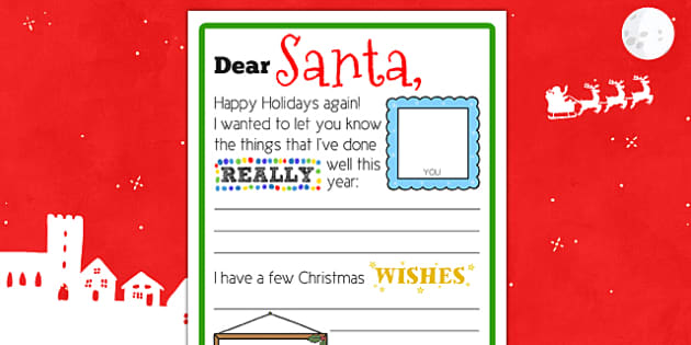 Scaffolded Letter to Santa Writing Template - scaffold, letter, santa, christmas