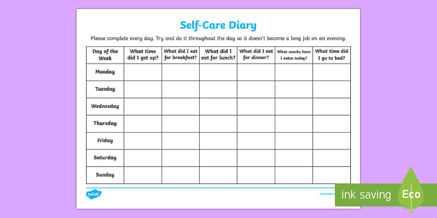 Self care diary young people families case file recording for Self care plan template