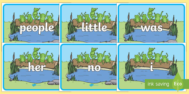 Tricky Words on Little Speckled Frogs - Tricky words, DfES Letters and Sounds, Letters and sounds, display, words