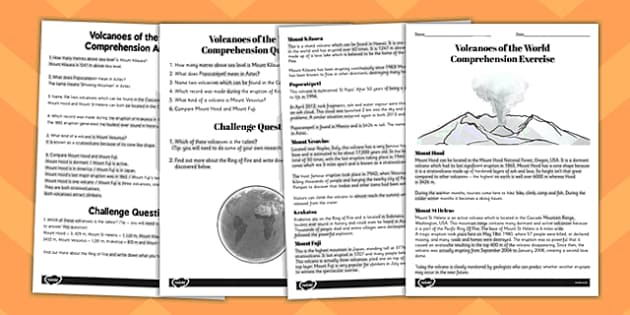 World Volcanoes Reading Comprehension Activity - volcano, worksheet