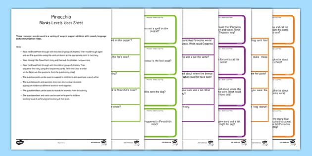 Pinocchio with Blanks Level Questions - Blanks levels, Language for Thinking, verbal reasoning, autism, receptive language