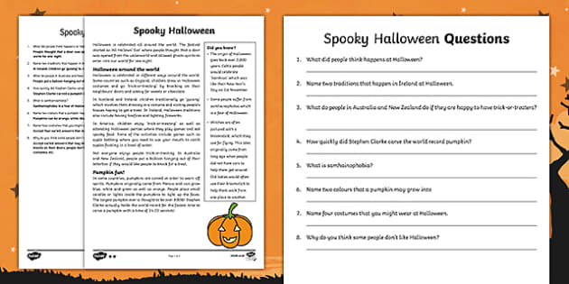 Halloween Around the World Differentiated Reading Comprehension Activity