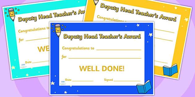 Deputy Head Teachers Award Certificates - deputy head, awards, certificates