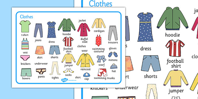 Clothes Word Mat - clothes, different, word mat, mat, writing aid, words, wear, blouse, jeans, t-shirt, top, hat