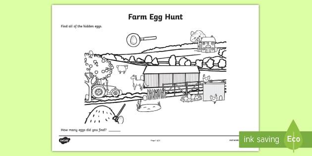 Farm Egg Hunt Colouring Sheet - farm, egg, hunt, colouring, sheet