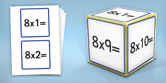 Giant Foam Dice Squares 8 Times Tables - foam dice, squares, 7
