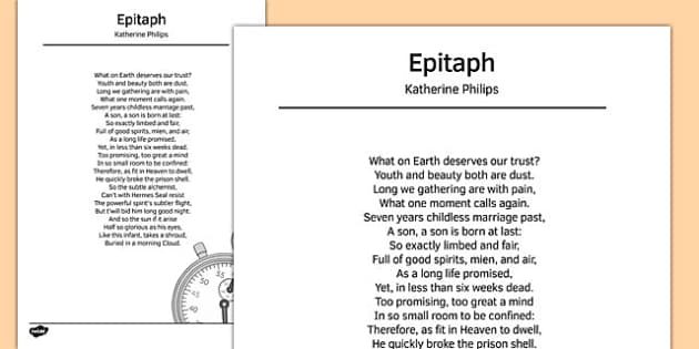 Epitaph by Katherine Philips Poem - poem, poetry, epitaph, philips