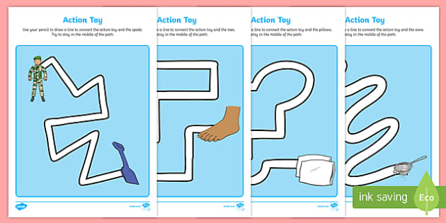 Action Toy Pencil Control Path Worksheets - traction man, action toy, pencil control path, worksheet