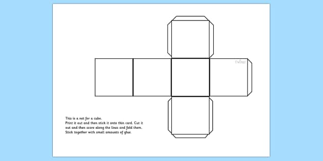 Cube Net - cube, shapes, shape net, cube shape net, maths, dice, dice net, die net, square net, 3d shapes, net for a cube, cut out cube, cube template, ks2