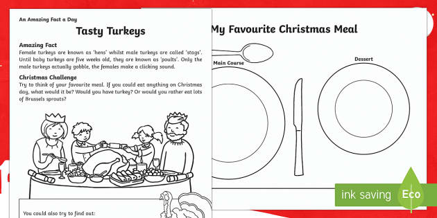 Tasty Turkeys Activity Sheet - Amazing Fact Of The Day, activity sheets, PowerPoint, starter, morning activity, December, advent, C