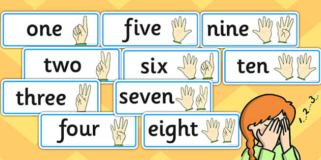 Finger Counting to Ten Word Cards - finger, counting, ten, cards