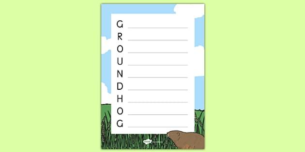 Groundhog Acrostic Poem Worksheet - groundhog day, groundhog, tradition, celebration, acrostic poem