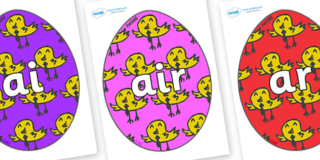 Phase 3 Phonemes on Easter Eggs (Chicks) - Phonemes, phoneme, Phase 3, Phase three, Foundation, Literacy, Letters and Sounds, DfES, display