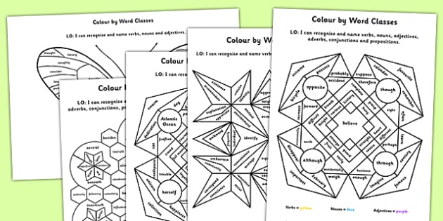 Colour by Word Class Pack - colour, word class, pack, word, class