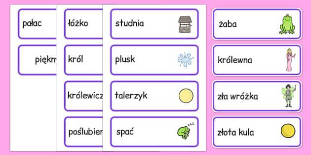 Karty ze słownictwem Żabi król po polsku - baśnie, bajki
