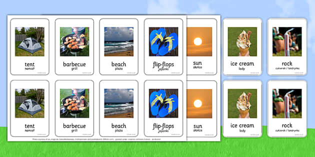 Photo Summer Pairs Matching Activity Polish Translation - summer, hot, holiday, sun, ice cream, activity, vocabulary, match, game