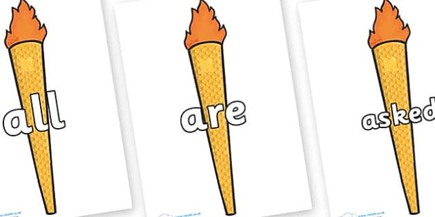 Tricky Words on Olympic Torches - Tricky words, DfES Letters and Sounds, Letters and sounds, display, words