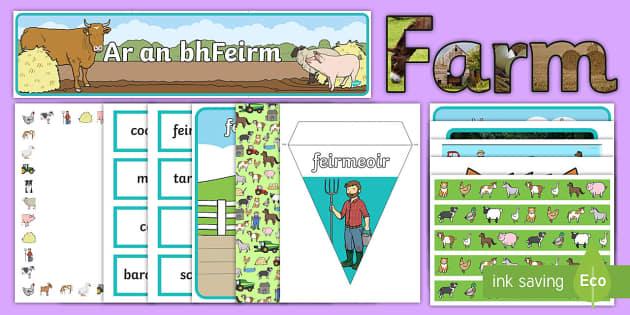 On the Farm Display Pack Gaeilge - Ar an bhFeirm, gaeilge, Irish, farm, feirm, farming,Irish