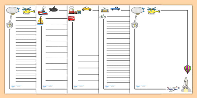 Transport Page Borders Transport page border a4 border – Border Paper Template