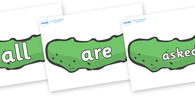 Tricky Words on Pickles to Support Teaching on The Very Hungry Caterpillar - Tricky words, DfES Letters and Sounds, Letters and sounds, display, words