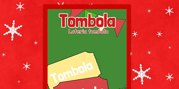 Christmas Themed Tombola Poster Polish Translation - polish, christmas, tombola, poster, display