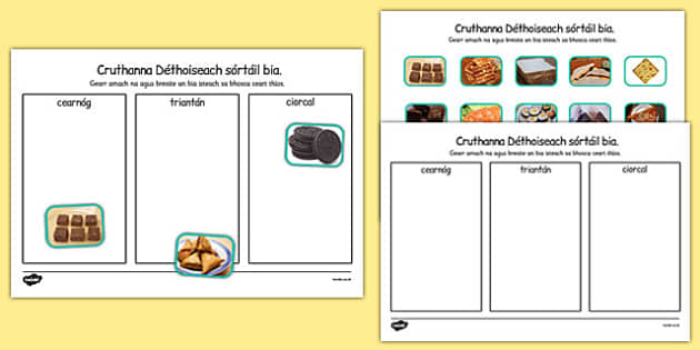Cruthanna Déthoiseach Food Sorting Gaeilge - gaeilge, roi, food, 2d shape, sorting, activity