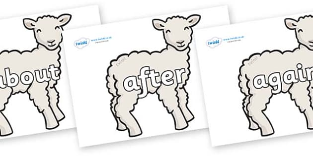 KS1 Keywords on Lambs - KS1, CLL, Communication language and literacy, Display, Key words, high frequency words, foundation stage literacy, DfES Letters and Sounds, Letters and Sounds, spelling