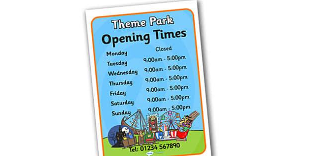 Theme Park Opening Times - theme park, opening, times, theme park opening time, opening times, role play opening times, theme park role play, open times