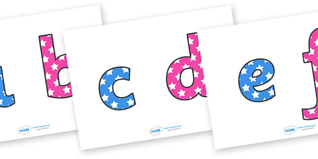 Star Themed Display Letters (Lowercase) - Display letters, letters, display, star, stars, themed, lowercase, display lettering, alphabet display, letters to cut out, letters for displays, coloured letters, coloured display, alphabet