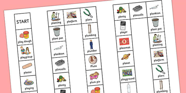 Two Syllable PL Sound Board Game - two syllable, pl sound, board game, sound, pl