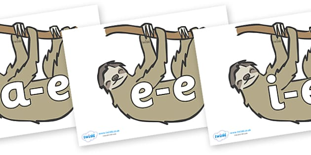 Modifying E Letters on Sloths - Modifying E, letters, modify, Phase 5, Phase five, alternative spellings for phonemes, DfES letters and Sounds