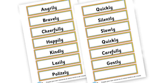 Adverb List - Verb Primary Resources, verbs, noun, adjective, wow, keywords