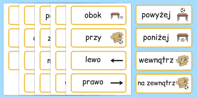 Positional Vocabulary cards Polish - polish, Position, Positional, Positional Language, Position Words, up, down, inside, outside, next to, North, South, East, West