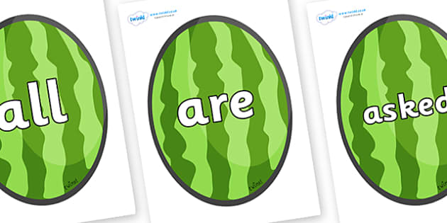 Tricky Words on Melons (Vertical) - Tricky words, DfES Letters and Sounds, Letters and sounds, display, words