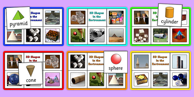 3D Shapes in the Environment Bingo and Lotto Game - shape, games, 3D shapes, bingo, cone, cube, cuboid, sphere, cylinder, pyramid