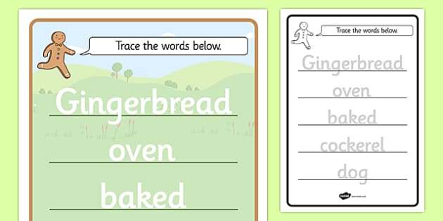 The Gingerbread Man Trace the Words Worksheet - tracing, practice