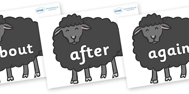 KS1 Keywords on Baa Baa Black Sheep - KS1, CLL, Communication language and literacy, Display, Key words, high frequency words, foundation stage literacy, DfES Letters and Sounds, Letters and Sounds, spelling
