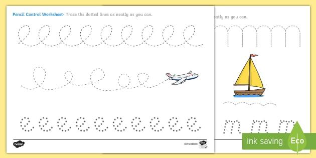 Transport Pencil Control Worksheets - transport, pencil control