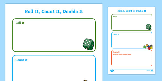 Roll it, Count it, Double it Activity Sheet