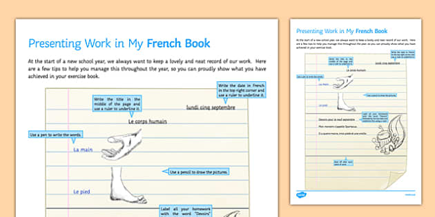 Presenting Work in my French Book Guide-French